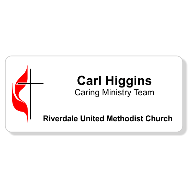 United Methodist Full Color Name Tag - Large Rectangle