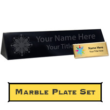 Custom Black Marble Desk Plate and Plastic Name Tag Set