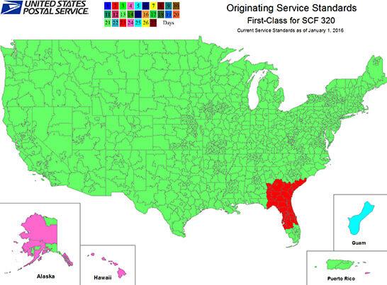 USPS shipping estimate map